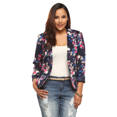 Images of Plus Size Floral Blazer - Reikian
